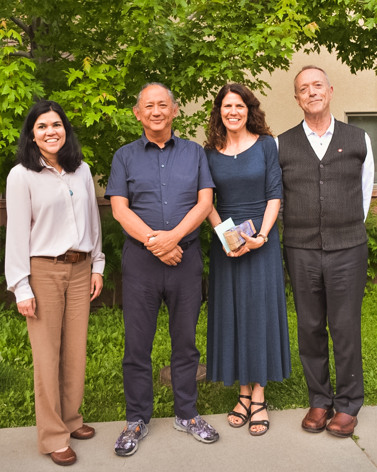 Polly Banerjee-Gallagher (Director of Windhorse Community Services) Dzigar Kongtrul Rinpoche, Stephanie Kindberg (Director of Operations at Windhorse Elder Care) And Chuck Knapp, Senior clinician at WCS.