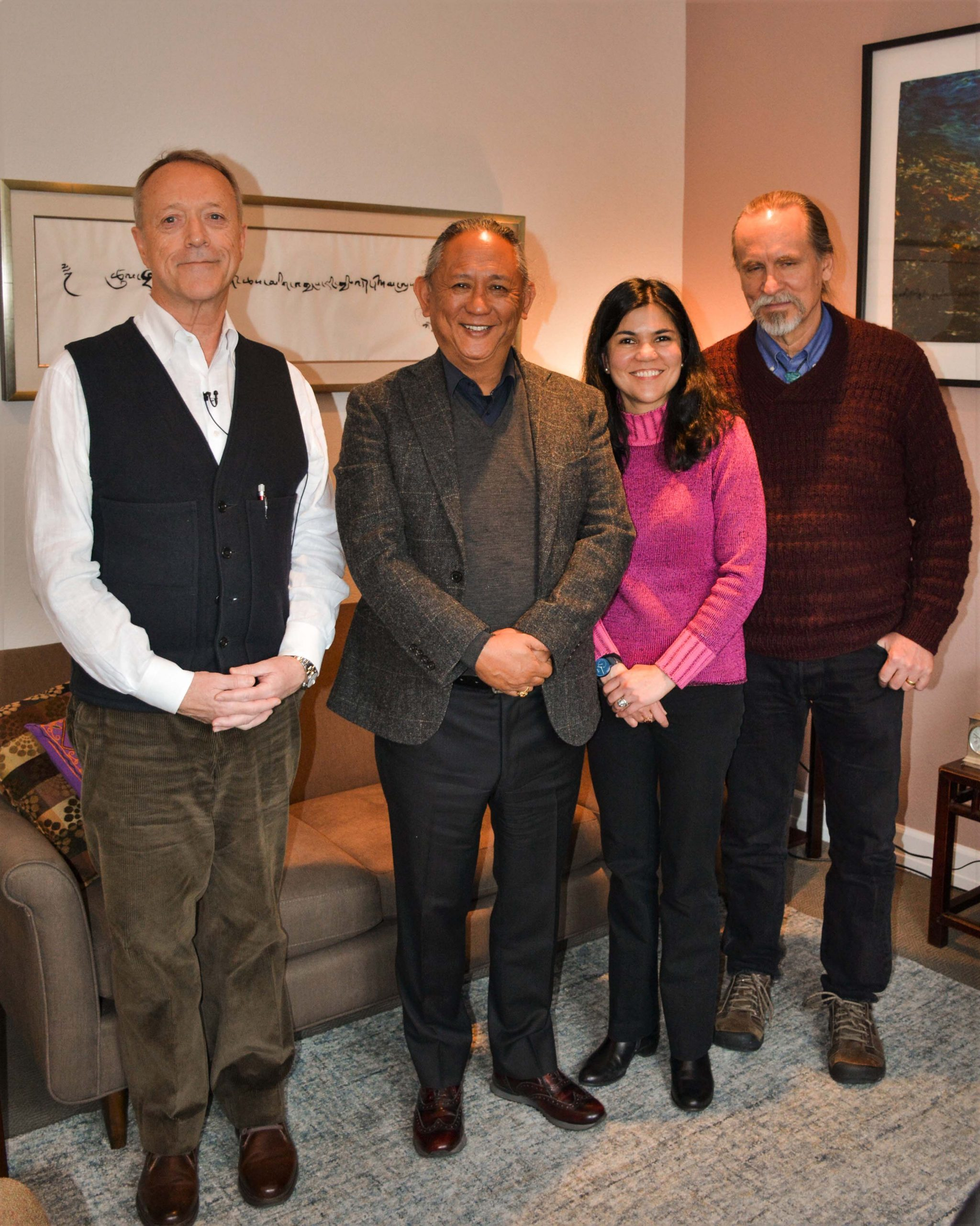 Chuck Knapp (previous Director and marketing administrator- WCS senior clinician) Dzigar Kongtrul Rinpoche, Polly Banerjee- Gallagher (Director of WCS) and Jack Gipple (Clinical Services Manager)